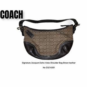 COACH jacquard logo & leather soho hobo bag